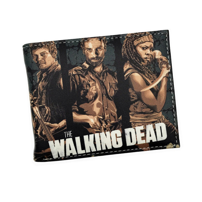 New Arrival Wallet The Walking Dead Short Wallets With Card Holder Photo Holder Men And Women Purse Cartoon Wallet Dollar Price new anime style spiderman men wallet pu leather card holder purse dollar price boys girls short wallets with zipper coin pocket