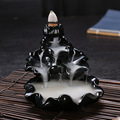 Black Glaze Ceramic Cone Incense Burner Creative Lotus Pond Smoke Backflow Censer Bullet Tower Incense Burner New Free Shipping