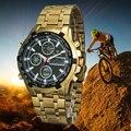 Ouro dos homens Ao Ar Livre Esporte Chronograph relógio de Pulso Analógico C1298 TIMIEP Tempo Duplo Led Moda Digital-relógio de Aço Completo