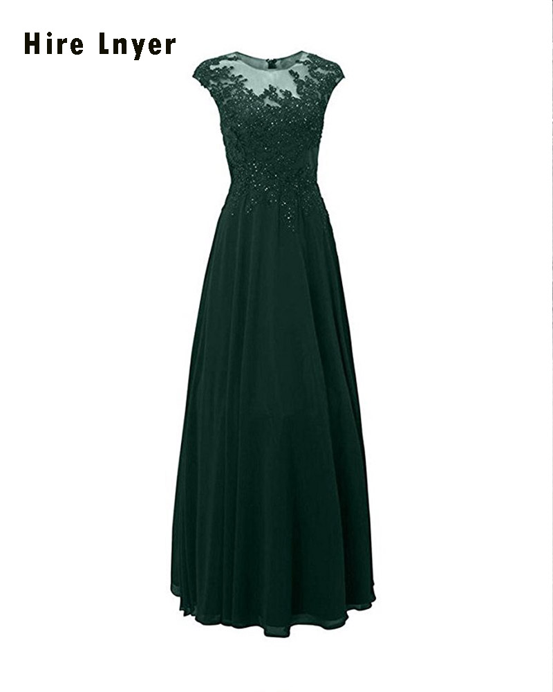 HIRE LNYER 2019 New Arrive Cap Sleeve Appliques Beading Formal Gown More Color Choose Floor Length Mother of the Bride Dresses