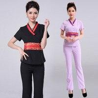 (3 suit get 10% off) Thai restaurant waiter purple health service beautician foot SPA clothing beauty salon work clothes uniform