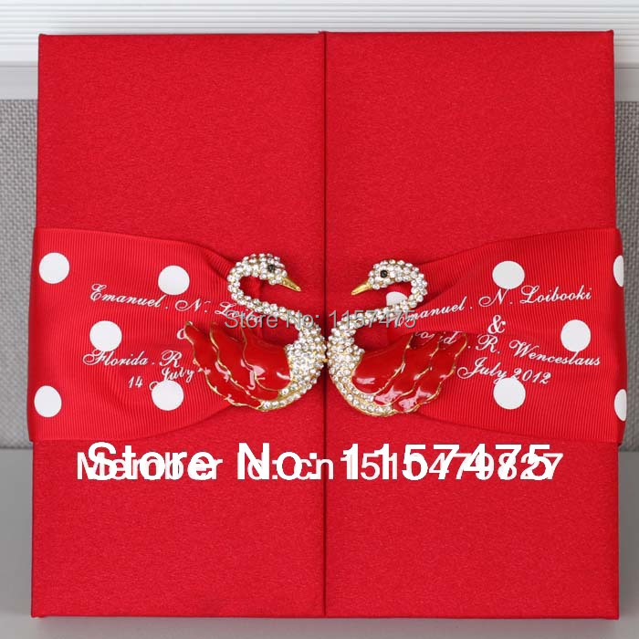 Hi2002 Customized Silk Wedding Invitation Box With Swan Brooch In Cards Invitations From Home Garden On Aliexpress Alibaba Group