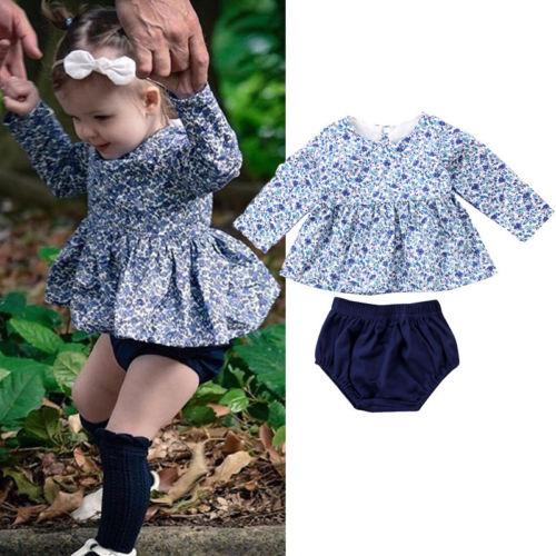 Newborn Kid Baby Girls Floral Dress Tops Pants Shorts Briefs Outfits 2pcs Summer New Children Clothes Set