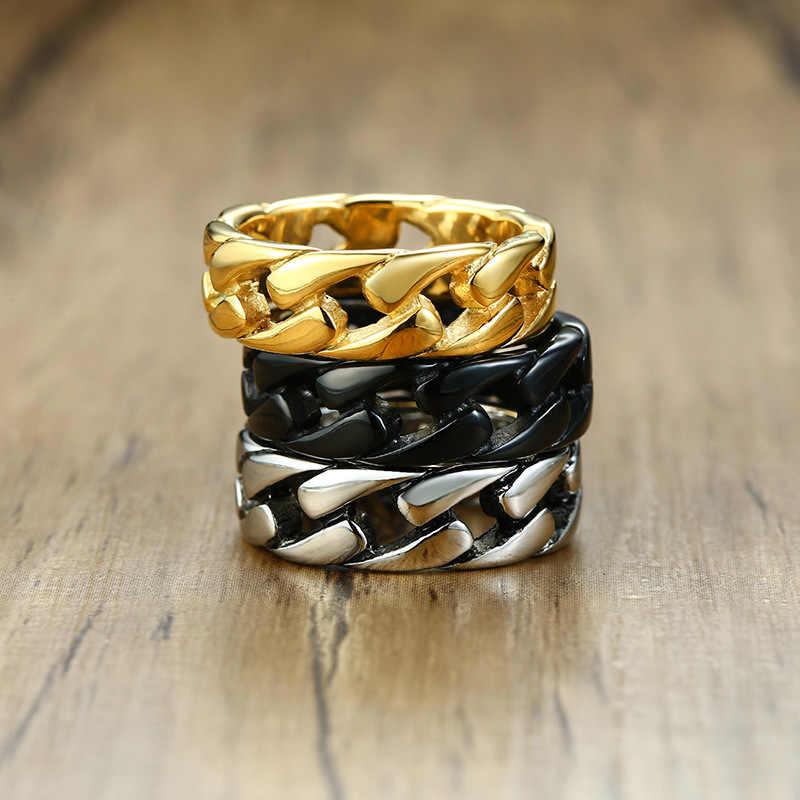 ZORCVENS золото/серебро/черный цвет нержавеющая сталь 7 мм Панк винтажные кольца для мужчин кубинская звено цепи мужской мальчик палец кольцо аксессуар