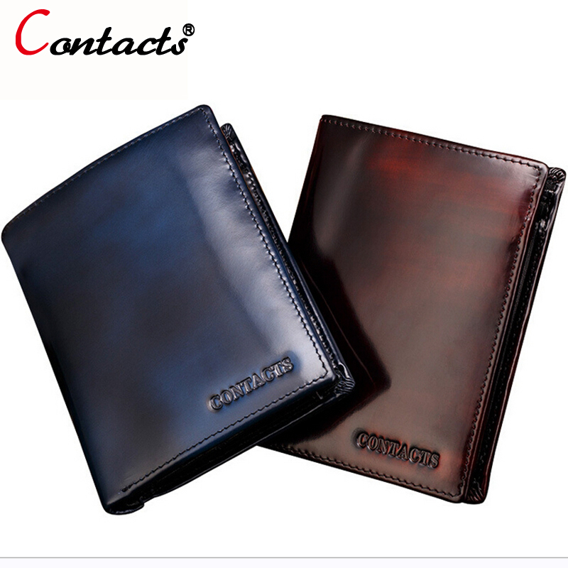 CONTACT'S Cowhide Fashion Purse With Card Holder genuine leather men wallets short male coin wallet famous brands designer 2017 new cowhide genuine leather men wallets fashion purse with card holder hight quality vintage short wallet clutch wrist bag