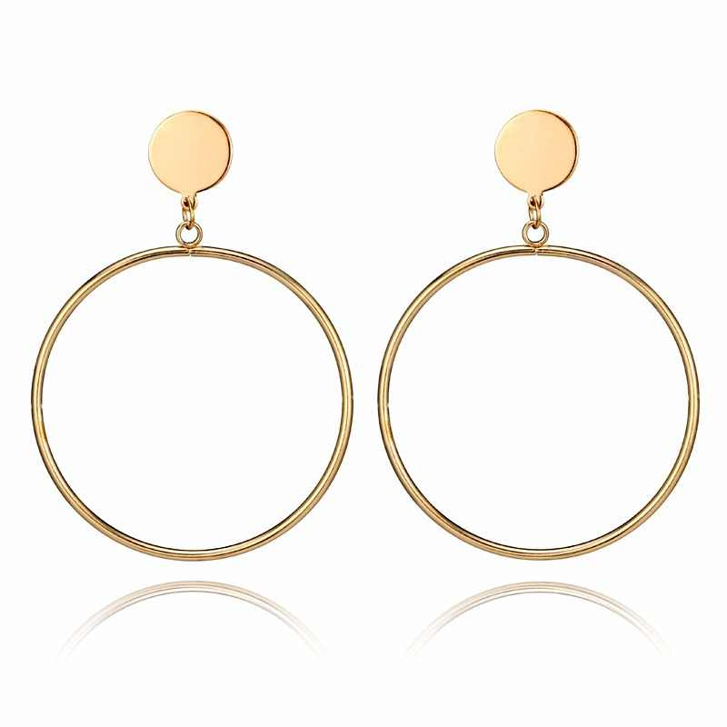 Silver/Gold Color Big Earrings New Trendy Gold color Drop Earrings Jewelry Wholesale Round Large Size Hoop Earrings For Women