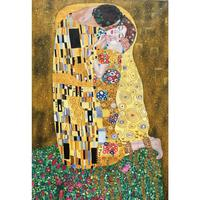 Gustav Klimt painting the kiss silver gold leaf Lovers oil paintings hand painted famous artwork for living room wall decor