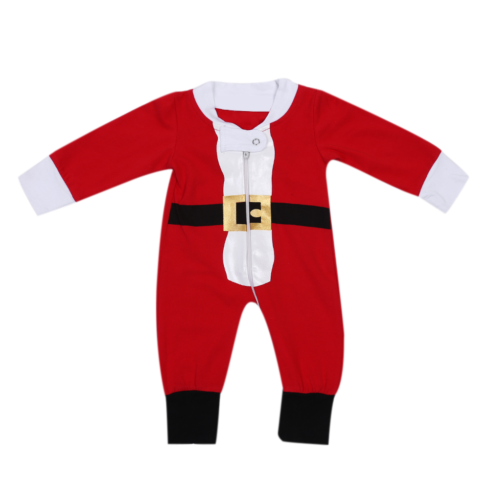 Unisex Baby Kids Santa Clause Romper Infant Long Sleeve Zipper Jumpsuit Baby Boys Girls Christmas Clothes