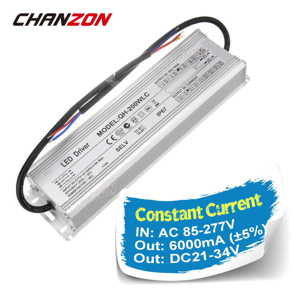 Constant Current LED Driver 6000mA DC 21-34V 200W AC100-240V Waterproof IP67 Power Supply Lighting Transformer for Lamps