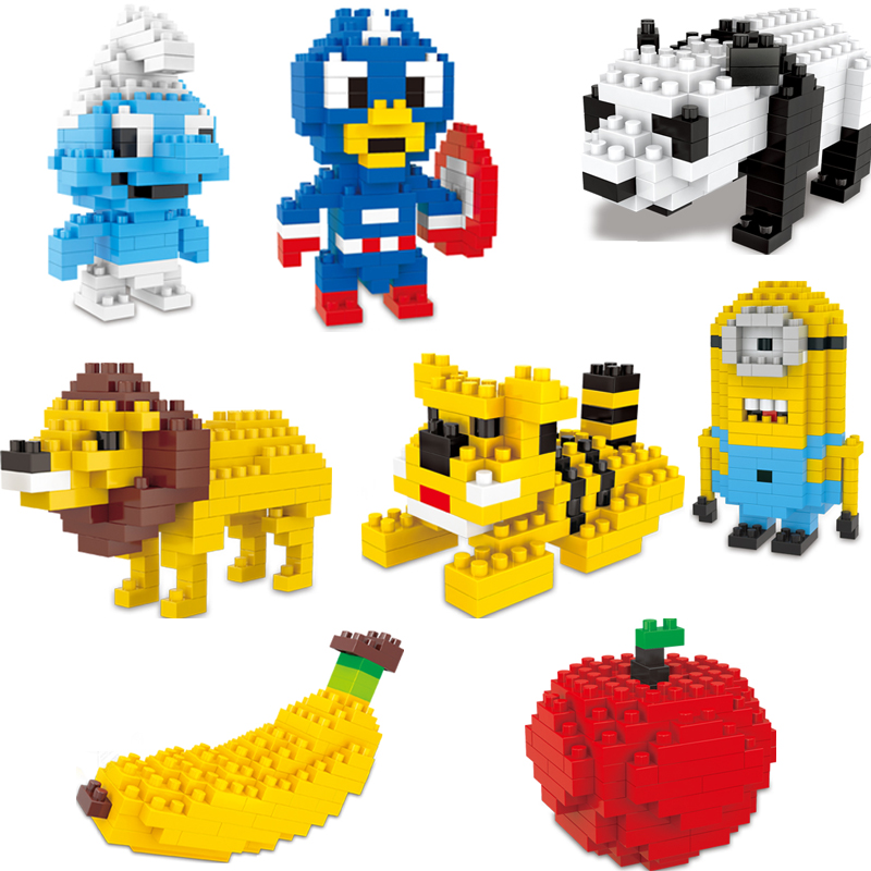 WL Mini Blocks Captain America Animal Fruit Intelligence font b Model b font font b Building