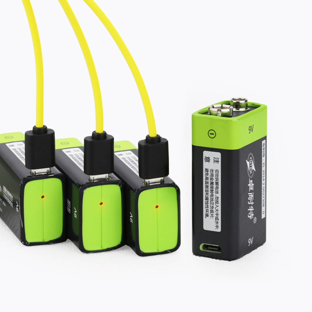 Hot Sale ZNTER 400mAh USB 9V Rechargeable Lithium Battery 6F22 Rechargeable Lithium Polymer Battery + Micro USB Charging Cable
