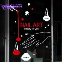 DCTAL Nail Art Sticker Beauty Salon Decal Shop Store Business Wall Art Stickers Decal DIY