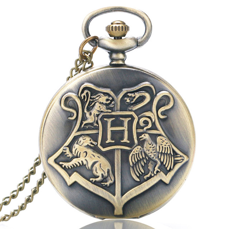 Vintage Retro Harry Shield School Of Witchcraft Wizardry Bronze Pocket Watch Men Women Children Necklace Pendant Watches