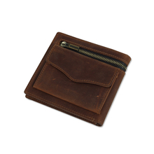 Top Quality Cow Genuine Leather Men Wallet Zipper Luxury Brand Solid Hasp Coin Pocket Card Holder Clamp For Money Short Male Pur