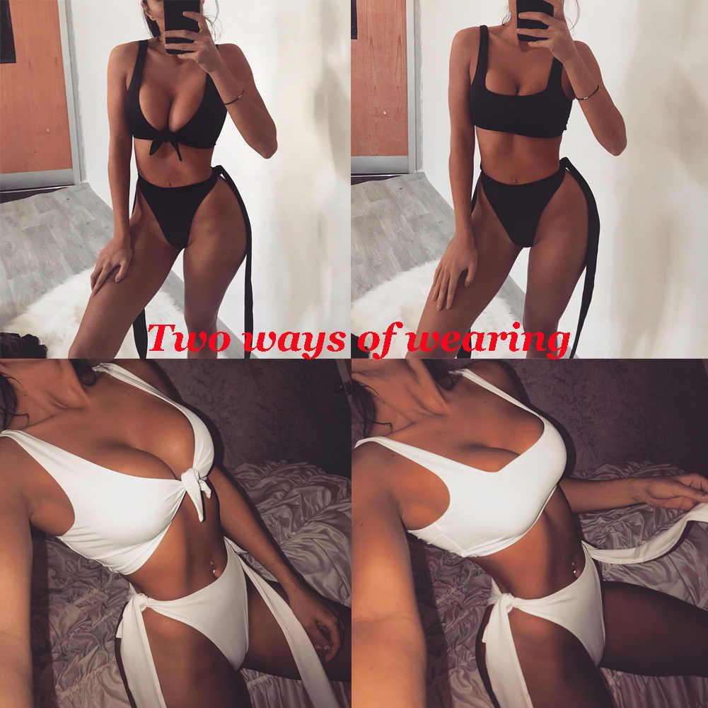 Womens Padded Push-up Bra Bikini Set Black White Swimsuit Bathing Suit Swimwear Beachwear two ways of wearing