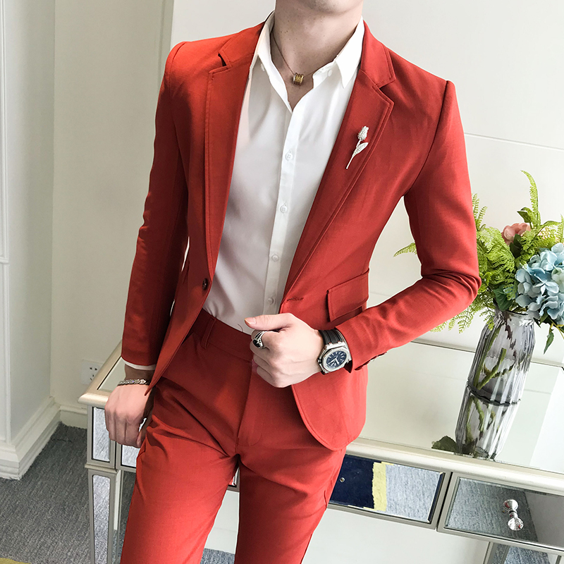 (jacket + trousers) men's leisure Korean style slim and handsome young men married in a solid color business suit two-piece suit