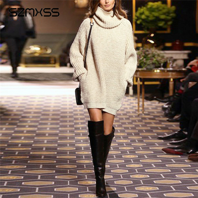 Womens 2017 Spring New Knitted Dress Autumn Winter High Neck Sweater Women Long Sleeve Beige Color Casual Oversized Knit Dress