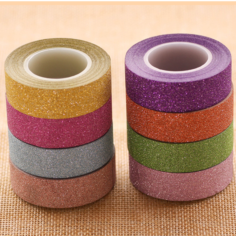 Creative Colorful Glitter Washi Tape For Diy Diary Decorative Adhesive Masking Tape Scrapbooking Chancellory Office Stationery