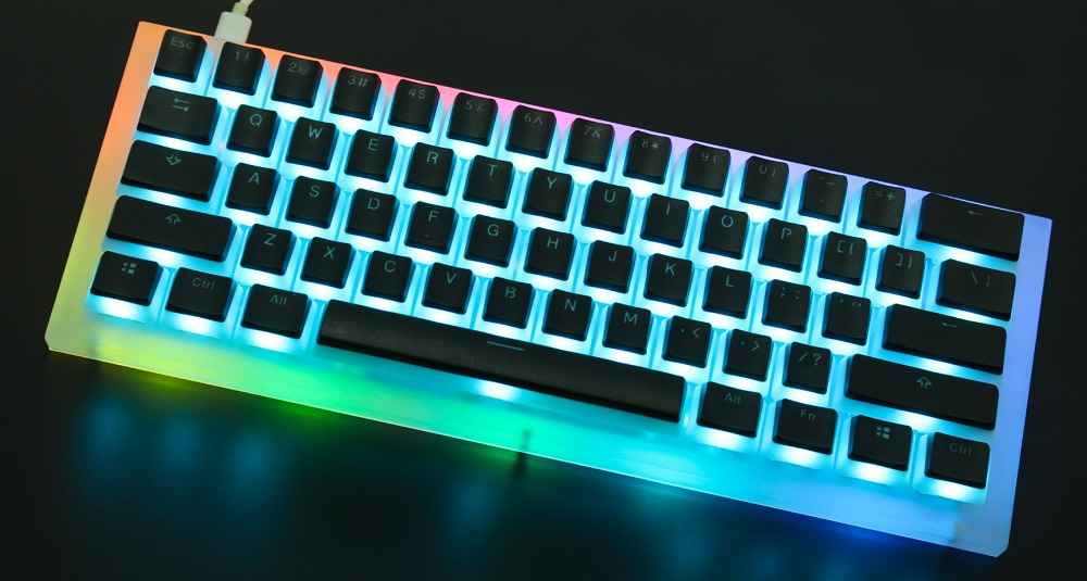 US $68 0   YMDK Diamond 60 Full Kit CNC Acrylic Case Plate QMK PCB  Underglow RGB For 60% ANSI Mechanical Keyboard-in Keyboards from Computer &  Office