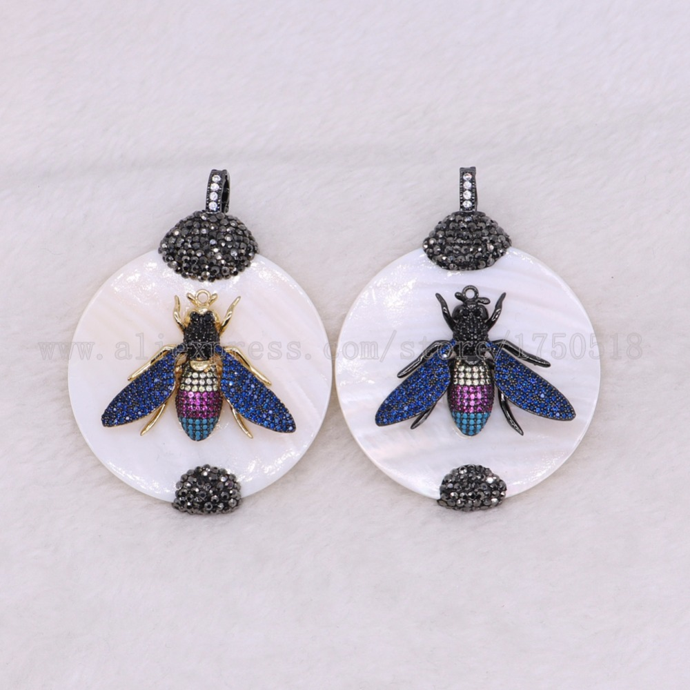 3 pieces shell beads with insects bugs bees shell pendants with round stone high quality connector 2902