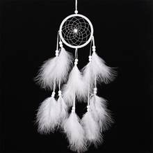 Wind Chimes Handmade Indian Dream Catcher Net With Feathers 55 cm Wall Hanging Dreamcatcher Craft Gift Home Decoration(China)