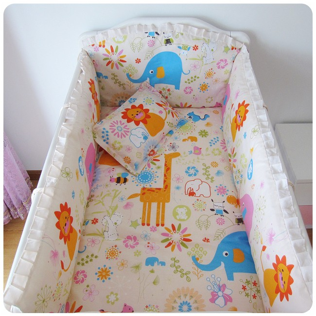 Promotion! 6PCS  Cotton Baby Bedding Set Baby Bedclothes Cot Bed Sheet Crib Bedding Set ,include(bumper+sheet+pillow cover)