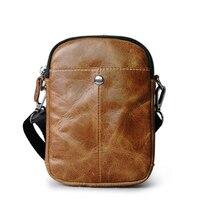 Casual Premium Leather Crossbody Bag, Men Waist Retro Bag with Strap, Zip small Cell Phone Handbags Men bags Shoulder mini bag