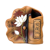 Creative Ceramic Pen Holder Ornaments Lotus Figurines Retro Crafts Old Furniture Multi function Home Decor Office Supplies Gifts