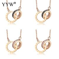 Titanium Steel Necklace Gold Color Plated Oval Chain With Rhinestone For Woman