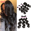 Brazilian Body Wave With Closure 3 Bundles Human Hair Weaves With Top Lace Closure Cheap 7A Brazilian Virgin Hair With Closure