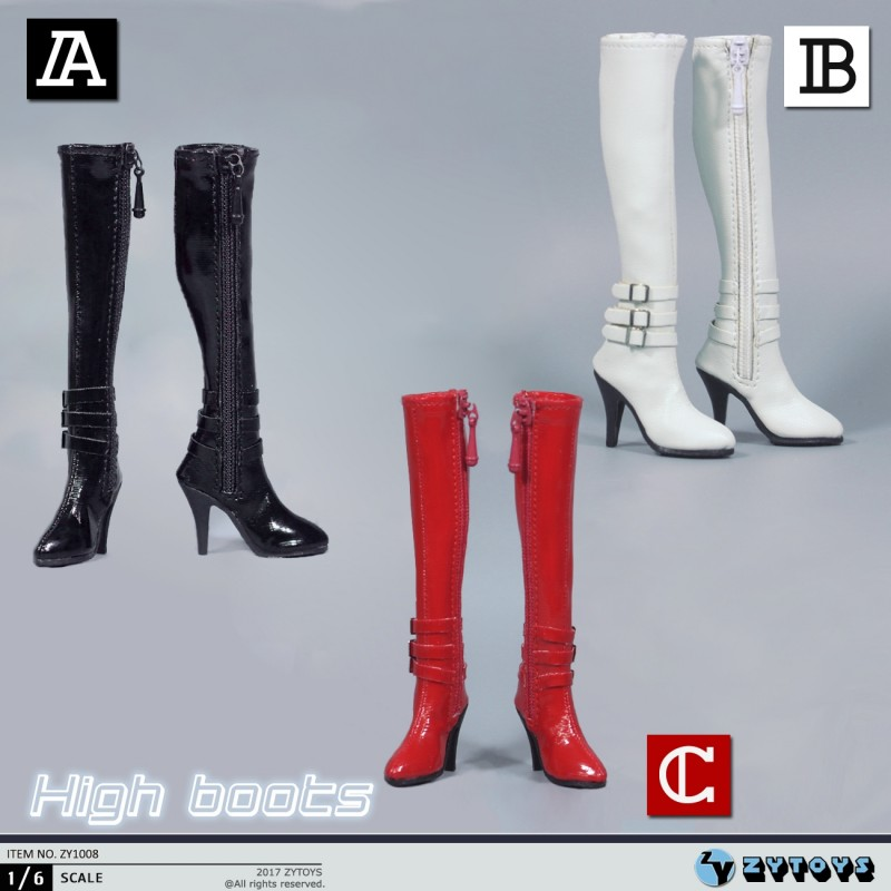 1//6 Female High Heels Black Zip Long Boots Shoes for 12/'/' Action Figure Toy