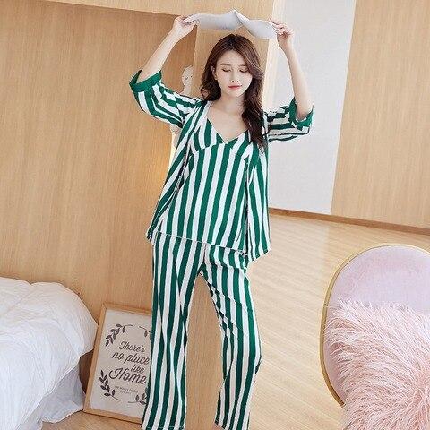 Women Pajama Sets Female Stripe Trousers of Condole Belt Sleepwear Top Grade Four-Piece Sleep & Lounge Robe Gown Sets Lahore