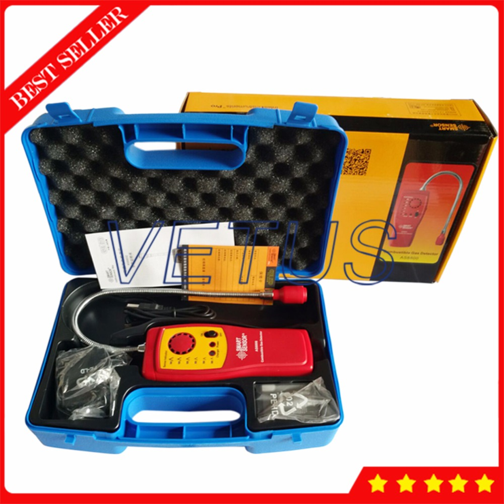 AS8800 Portable combustible gas detector tester with handheld port flammable gas Leak analyzer Light Alarm Buzzer function high sensitivity combustible gas leak detector natural gas with sound and light alarms multifunction gas analyzer
