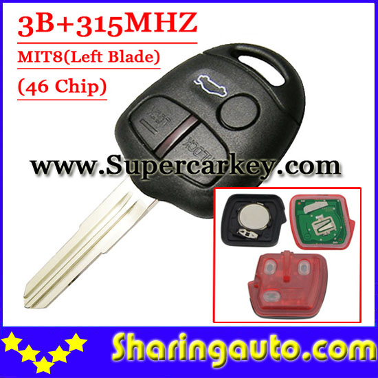 Free shipping (1piece) 3 Button Remote Key MIT8 uncut blade with 46 chip 315MHZ For Mitsubishi free shipping 2 button remote key hu87 blade with id46 chip 433mhz for suzuki swift yy 1piece