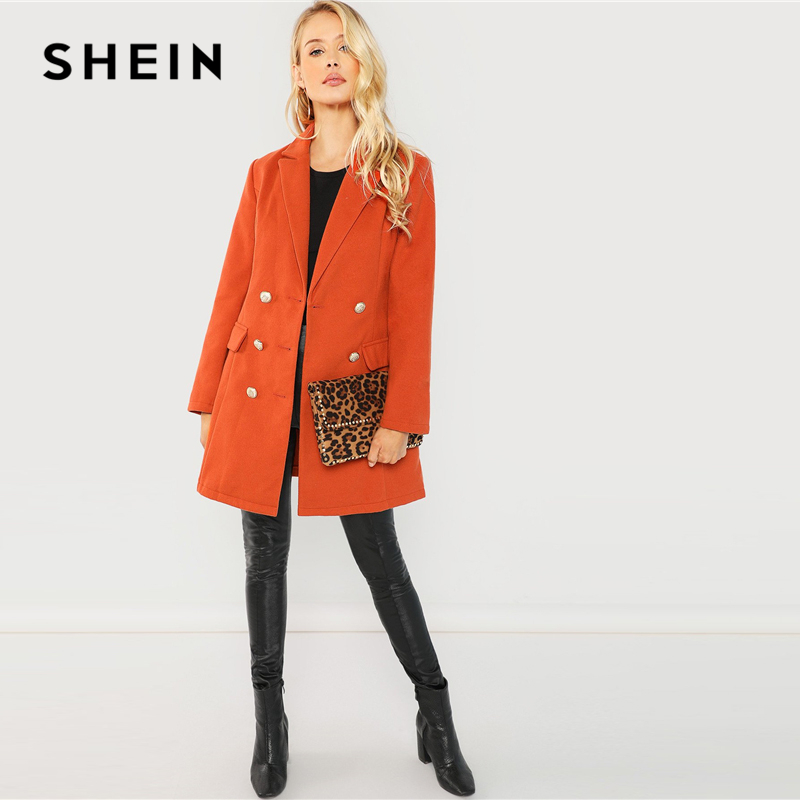 78fc3692255 SHEIN Brown Office Lady Elegant Double Breasted Notched Neck Fashion Solid  Coat 2018 Autumn Workwear Women Coats Outerwear-in Trench from Women s  Clothing ...