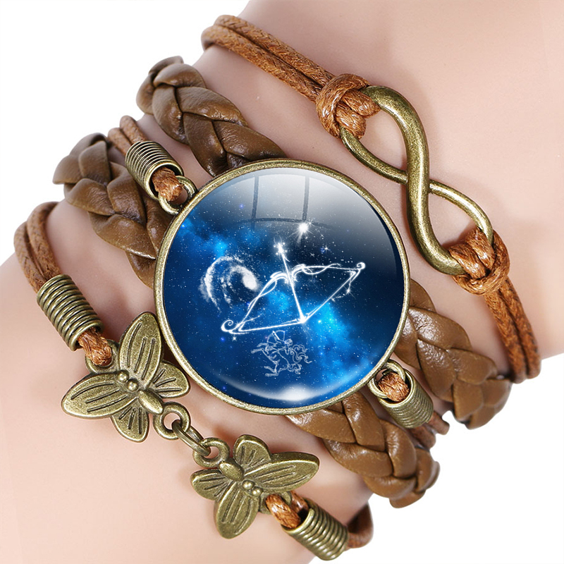 12 Zodiac Sign Leather Bracelet Bangle Virgo Libra Scorpio Sagittarius Constellation Jewelry Birthday Gift