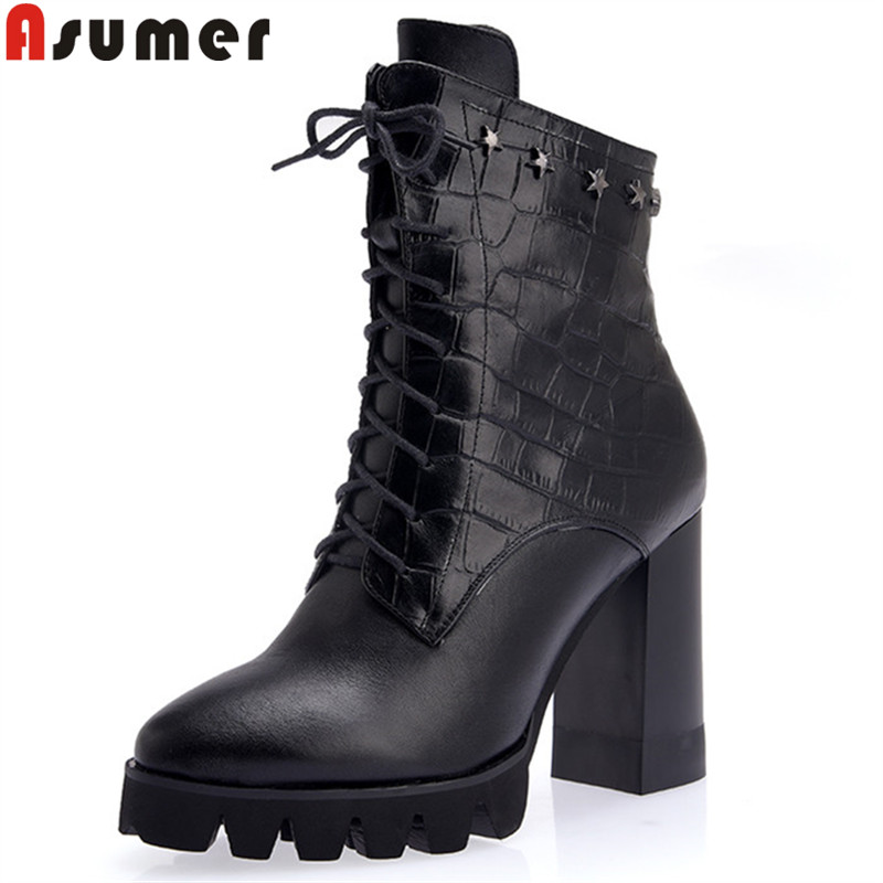 ASUMER black fashion autumn winter boots round toe zip ankle boots for women platform high heels ladies genuine leather boots стоимость
