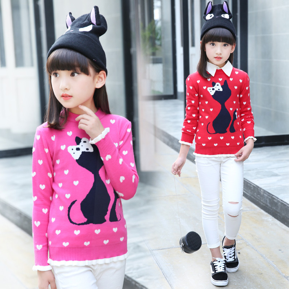 Kids Sweaters 0-3 Years Cartoon Cat Fashion Sweaters Baby Girls New Design Autumn And Spring Sweaters Pullover Thick Sweater