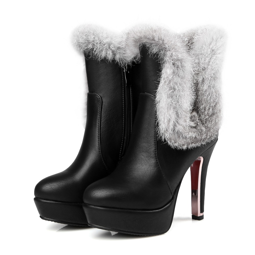 2017 Big size 30-48 Snow Boots Botas Mujer Fashion Ankle Boots Brand Low Sexy Heels  Autumn Winter For Women Snow Shoes 5203-7 lloprost ke faux fur ankle boots women casual shoes botas slip on platform low heel mujer winter autumn boots big size zz041