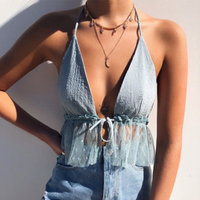 Women Sexy Camis Fashion Sleeveless Mmesh Camis Summer Backless V neck Camis Tops Club Crop Tops