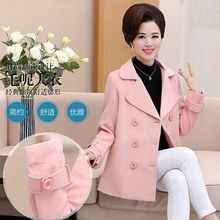 Middle-aged women's clothing double-breasted brief paragraph wool woolen cloth coat    PBD-1792