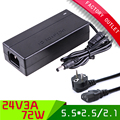 Newest AC/DC 24V 3A 72W Power Supply Charger Adaptor For LED Strip Light CCTV Camera + AC eu plug cord