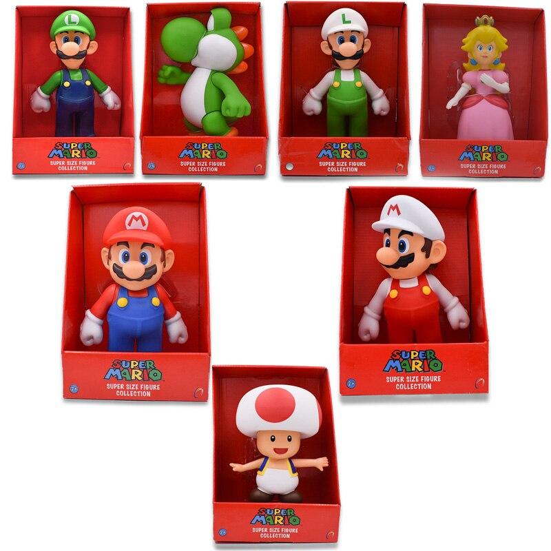 23cm 7 Styles Super Mario Bros Mario Yoshi Luigi Koopa Bowser Toad PVC Action Figures Toys With Box Free Shippin