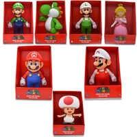 23cm 7 estilos Super Mario Bros Mario Yoshi Luigi Koopa Bowser Toad PVC figuras de acción juguetes con caja envío gratis