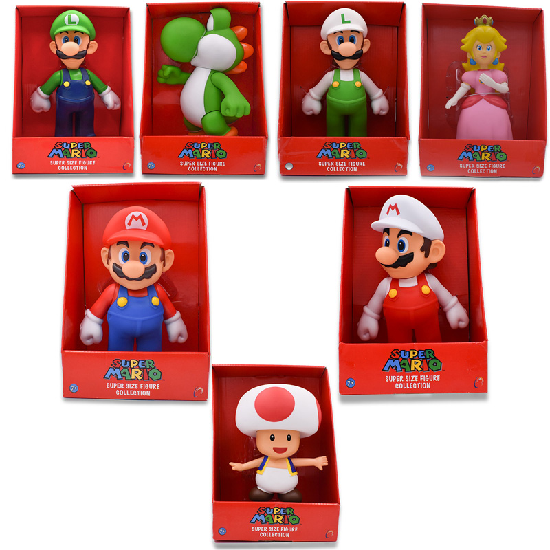 7Styles 23cm Mario Bros Figure Yoshi Peach Princess Toad PVC Action Figure Hot Toys For Children Mario Luigi Free Shipping