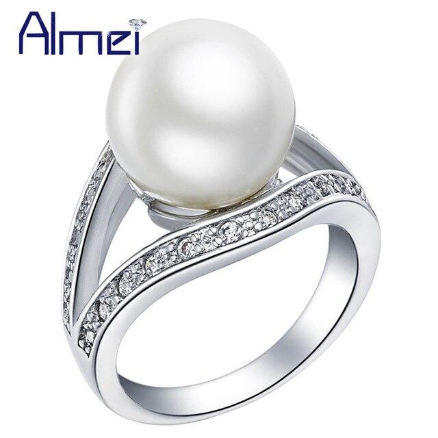 Silver Color Ring CZ Zircon Rings for Women Cubic Plastic Elegant Pearl for Women Wedding Bridal Gift,Anillo de Perla J381