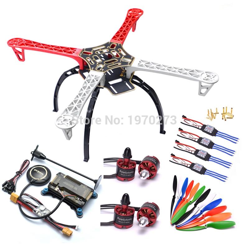 F450 450 quadcopter multicopter quadro kit apm 2.8 w/amortecedor 7 m módulo de potência gps 2212 motor 30a sichide esc