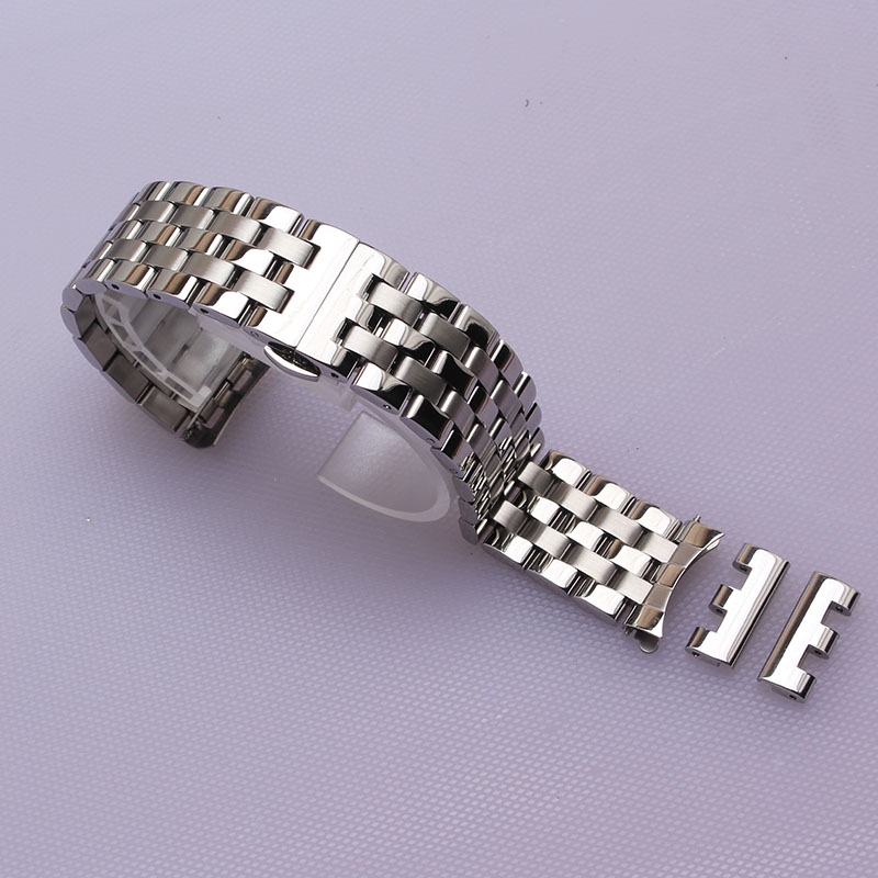 цена на 16mm 18mm 20mm 22mm 24mm Watchband Watch Band Stainless Steel Strap Wrist Belt Bracelet Silver curved ends fit men women hours