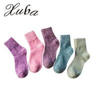 Xuba 5 pairs Calzini Donna 2017 di modo di Lana Ispessita casuale colore solido morbido caldo autunno inverno calzini per il Regalo Di Natale zk25