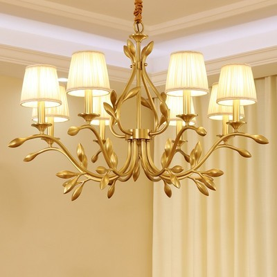 Glanz Kupfer Blatt Led Kronleuchter Beleuchtung Wohnzimmer Stoff Shades Led Kronleuchter Lampe Esszimmer Hängen Lichter Leuchten-in Pendelleuchten aus Licht & Beleuchtung bei